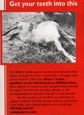 'Net' magazine British Field Sports Society clipping