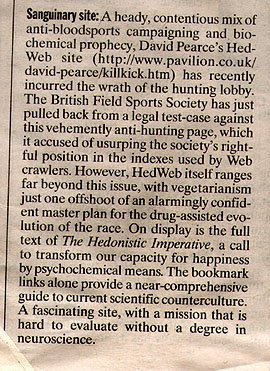 'Independent' newspaper British Field Sports Society clipping